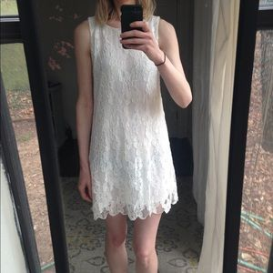 White Lacy C. Luce Party Shift Dress
